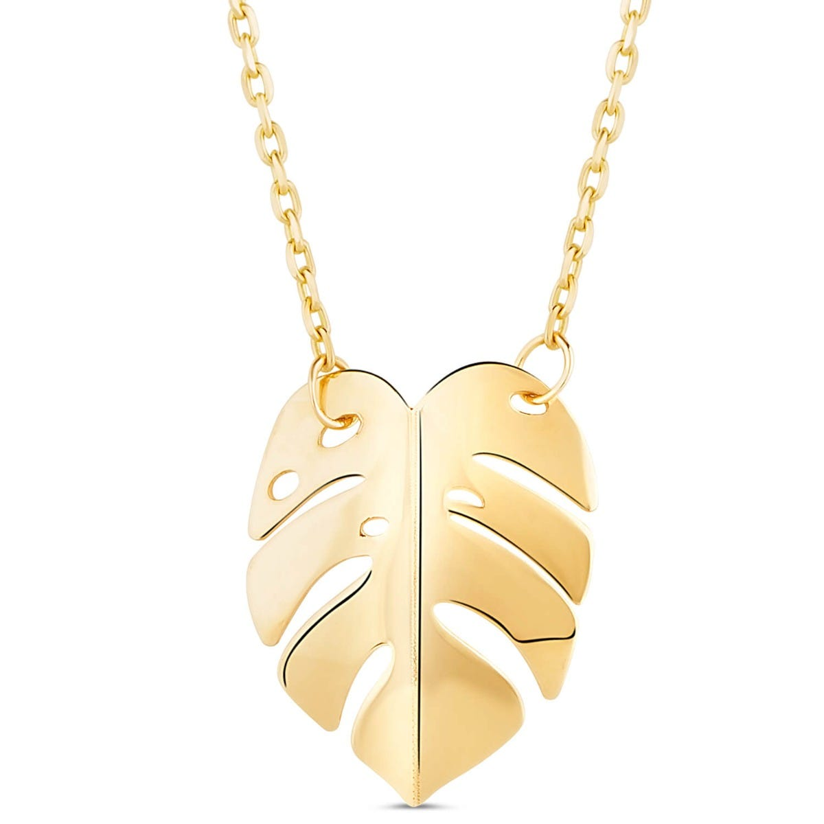 9ct Yellow Gold Polished Leaf Necklet