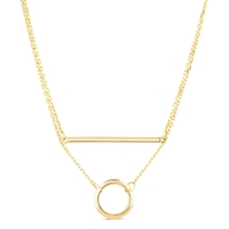 9ct Yellow Gold Bar & Circle Layer Necklet