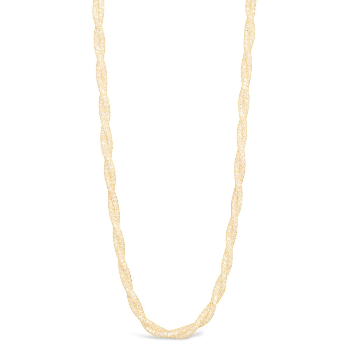 9ct Yellow Gold Cubic Zirconia Calza Braided Necklet