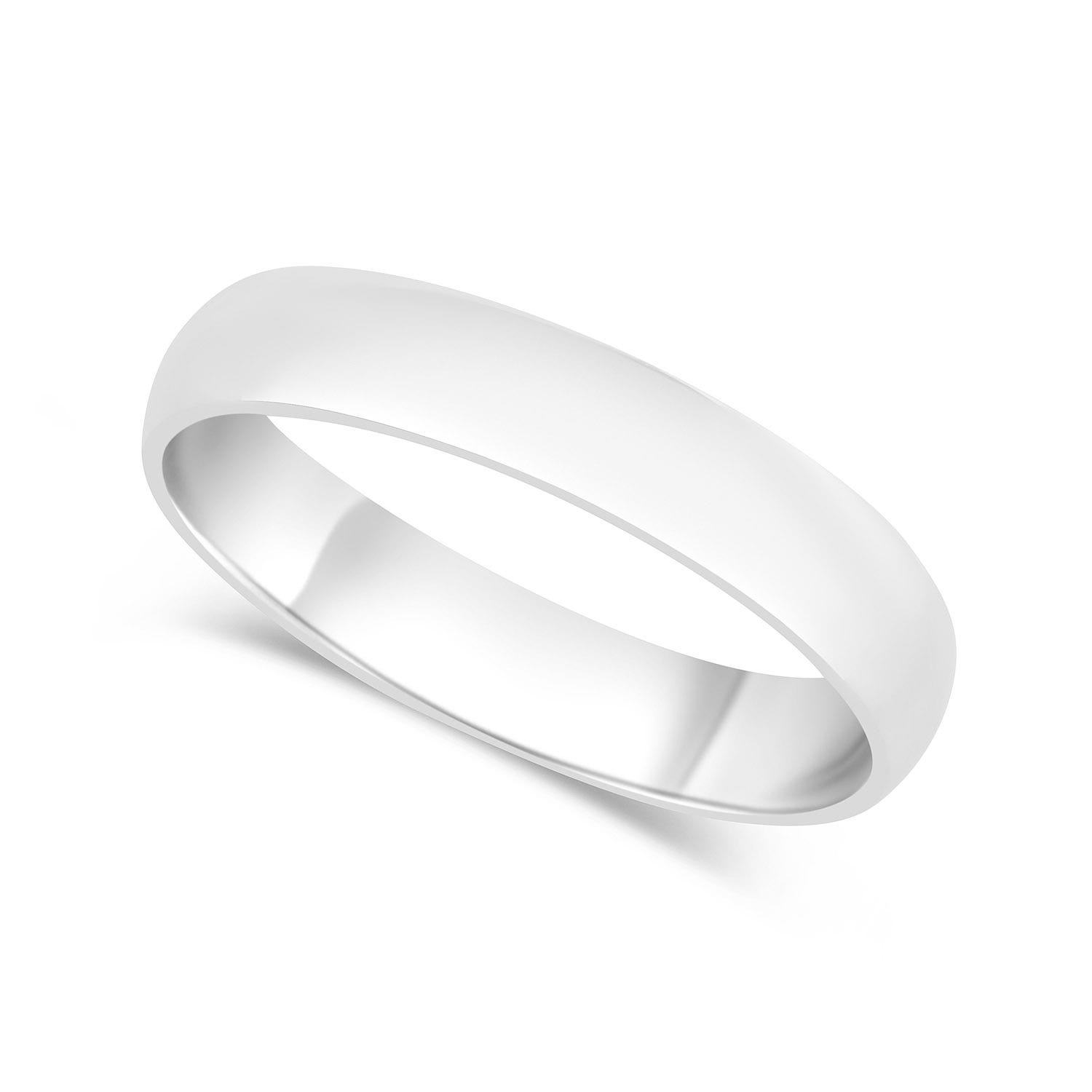 9ct White Gold 4mm Gents Wedding Ring