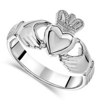Sterling Silver Puffed Heart Gents Extra Heavy Claddagh