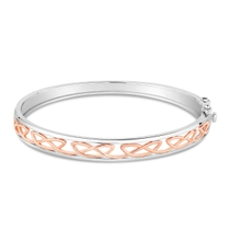 Silver Rose Gold Plated Celtic Knot Design Ladies Bangle