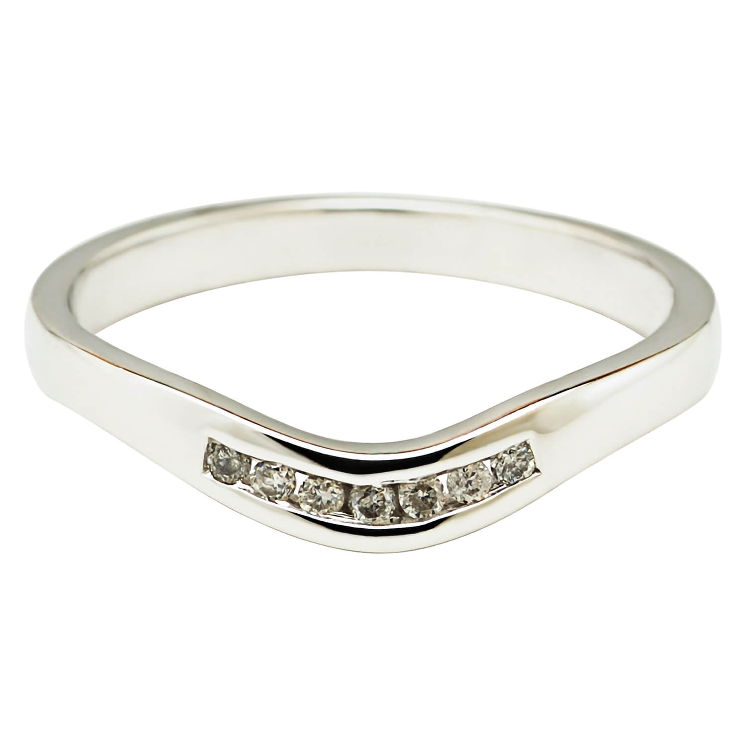 18ct White Gold Shaped Channel Set Diamond Wedding Ring