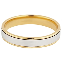 18ct Yellow and White Gold 4.5mm Wedding Ring