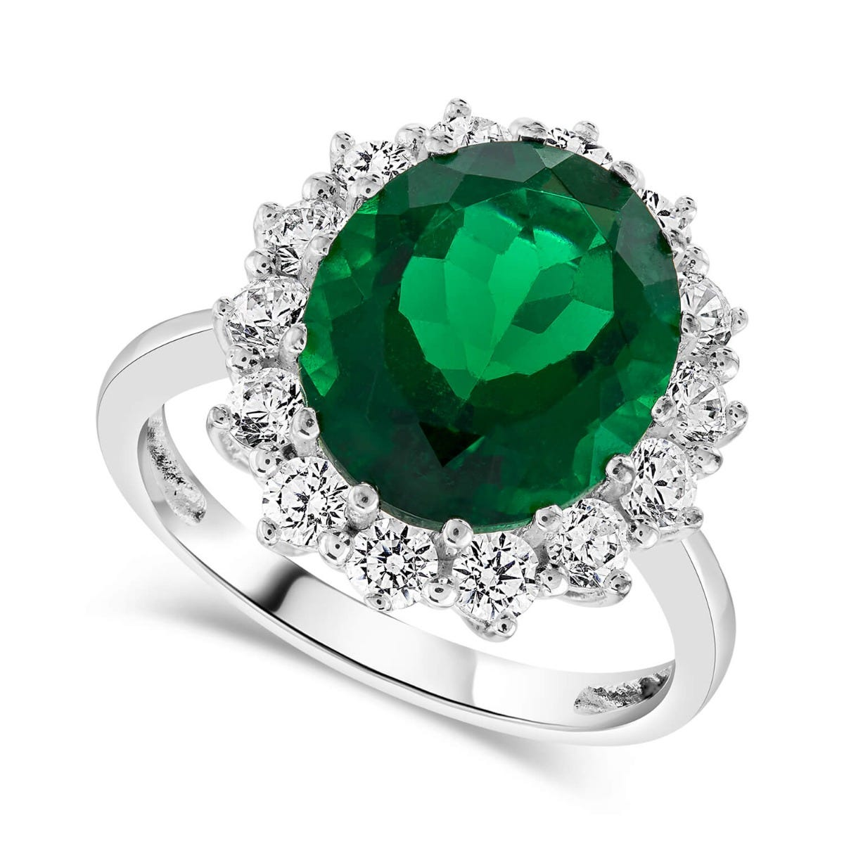 Ladies Sterling Silver and Created Emerald Ring