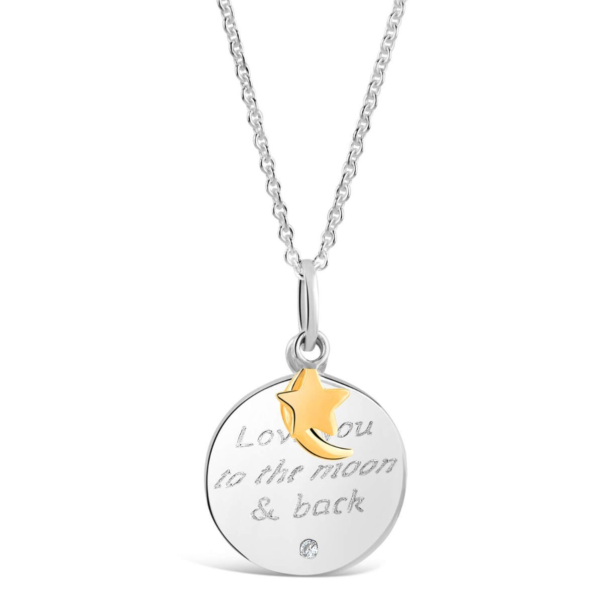 "Sterling Silver and Gold-plated Cubic Zirconia ""Love You To The Moon and Back"" Pendant"