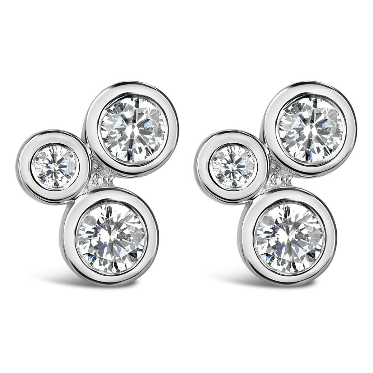 Sterling Silver 3-Stone Cubic Zirconia Stud Earrings