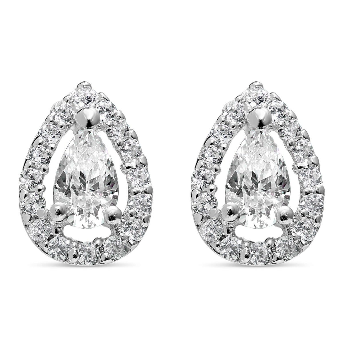 Sterling Silver Pear Cubic Zirconia Halo Cluster Stud Earrings