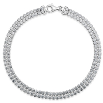 Sterling Silver Double Row Crystal Line Bracelet