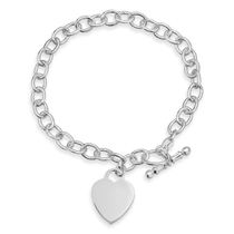 Sterling Silver Heart T-Bar Curb Chain Bracelet