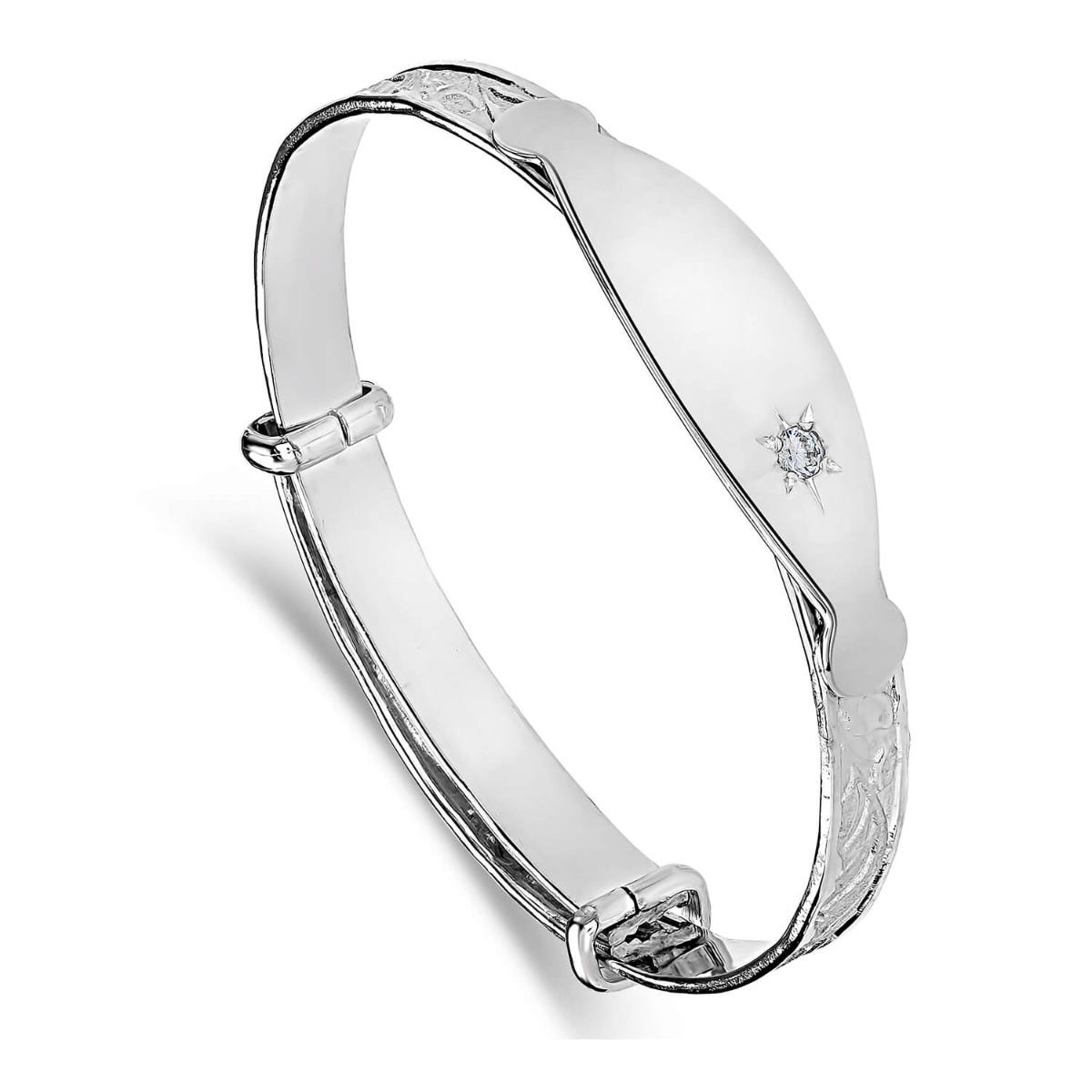 Sterling Silver Baby Bangle Plate with White Cubic Zirconia