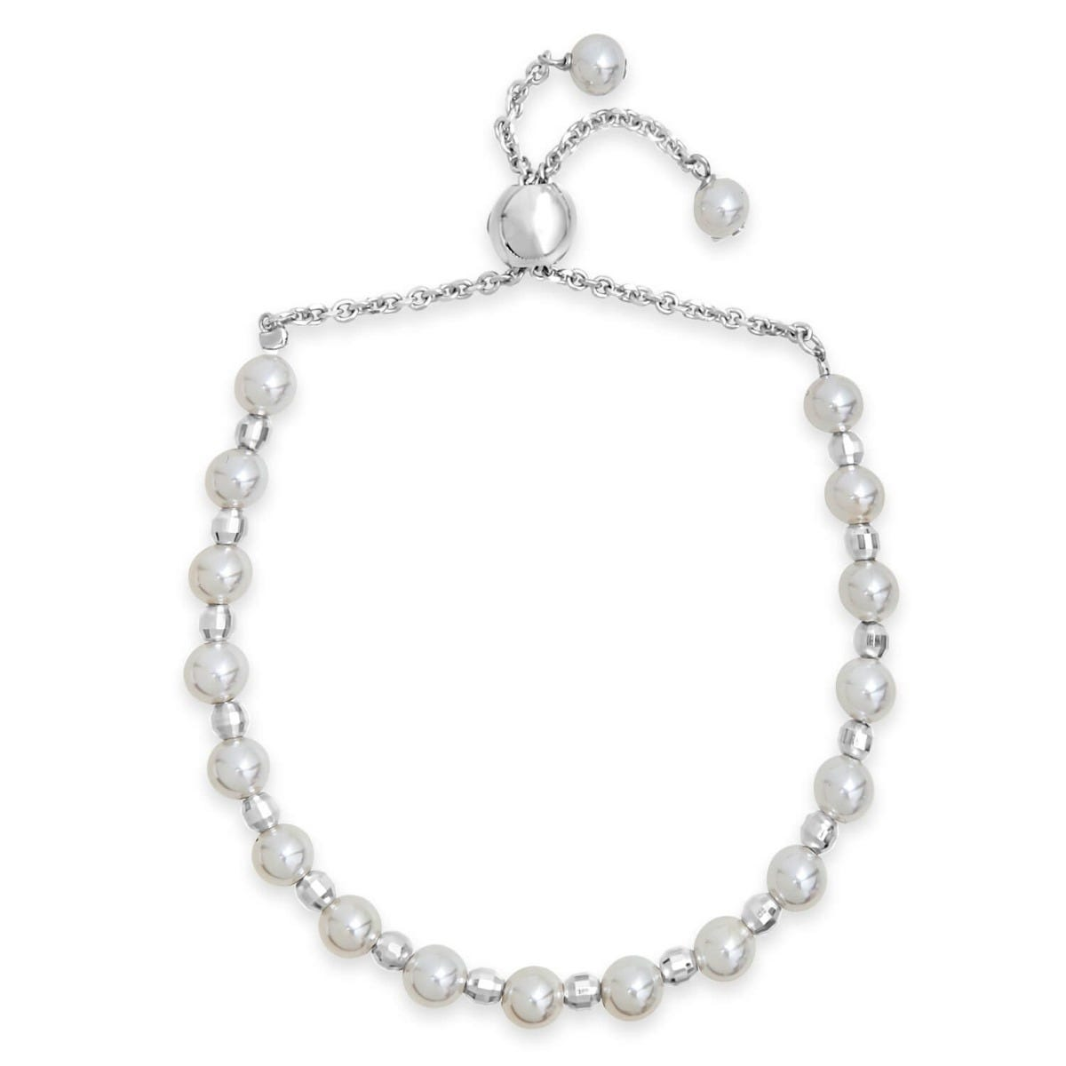 Girl's Sterling Silver Simulated Pearl Slider Bracelet