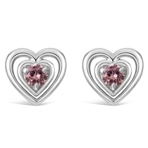 Little Treasure Sterling Silver Pink Crystal Heart Stud Earrings