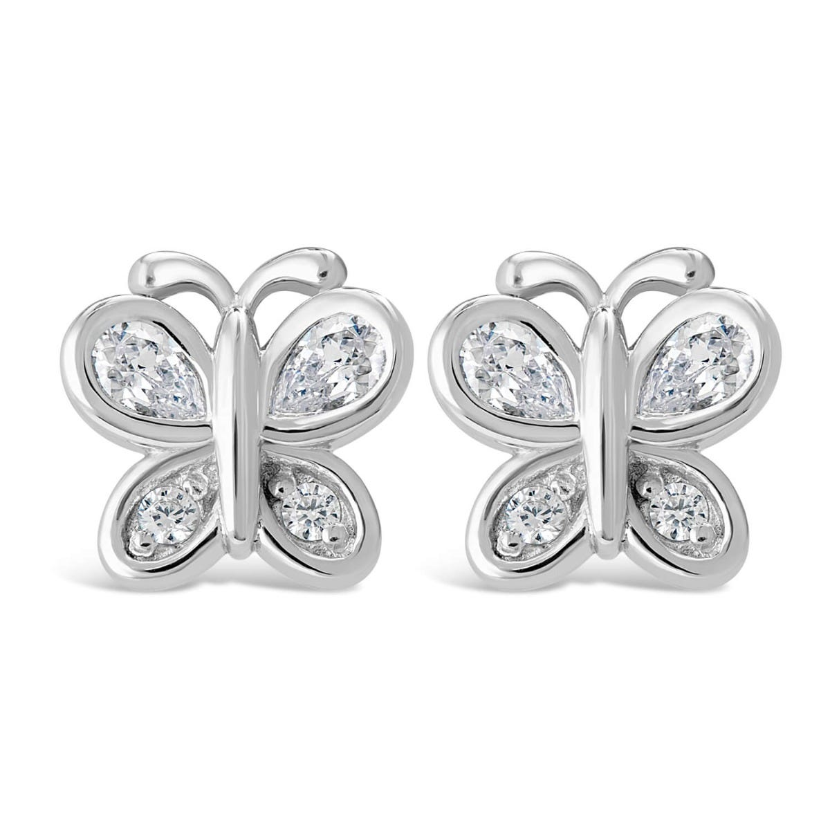 Little Treasure Sterling Silver Cubic Zirconia Butterfly Stud Earrings