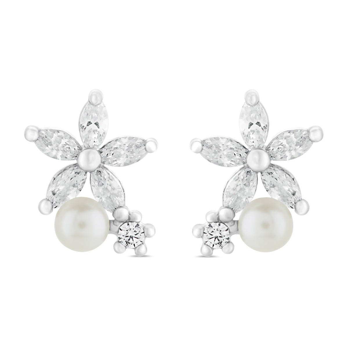 Sterling Silver Pearl and Cubic Zirconia Flower Earrings