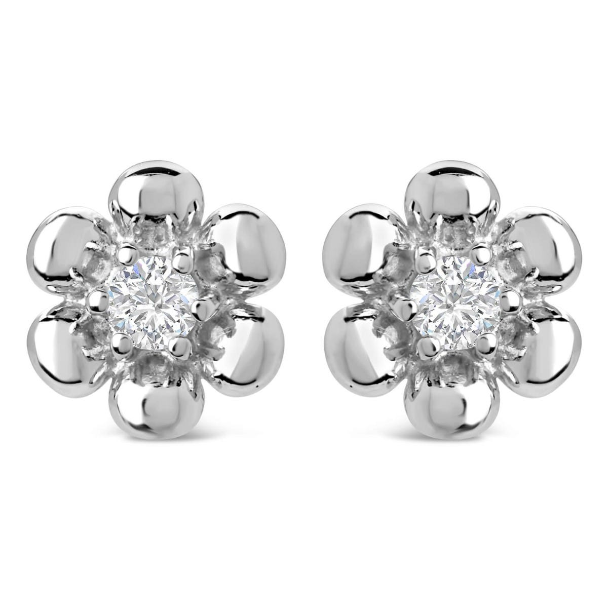 Little Treasure Sterling Silver Cubic Zirconia Flower Stud Earrings