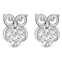 Little Treasure Sterling Silver Cubic Zirconia Owl Stud Earrings