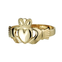 14ct Puffed Heart Ladies Extra Heavy Claddagh