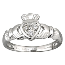 14ct White Claddagh 3 Diamond Heart