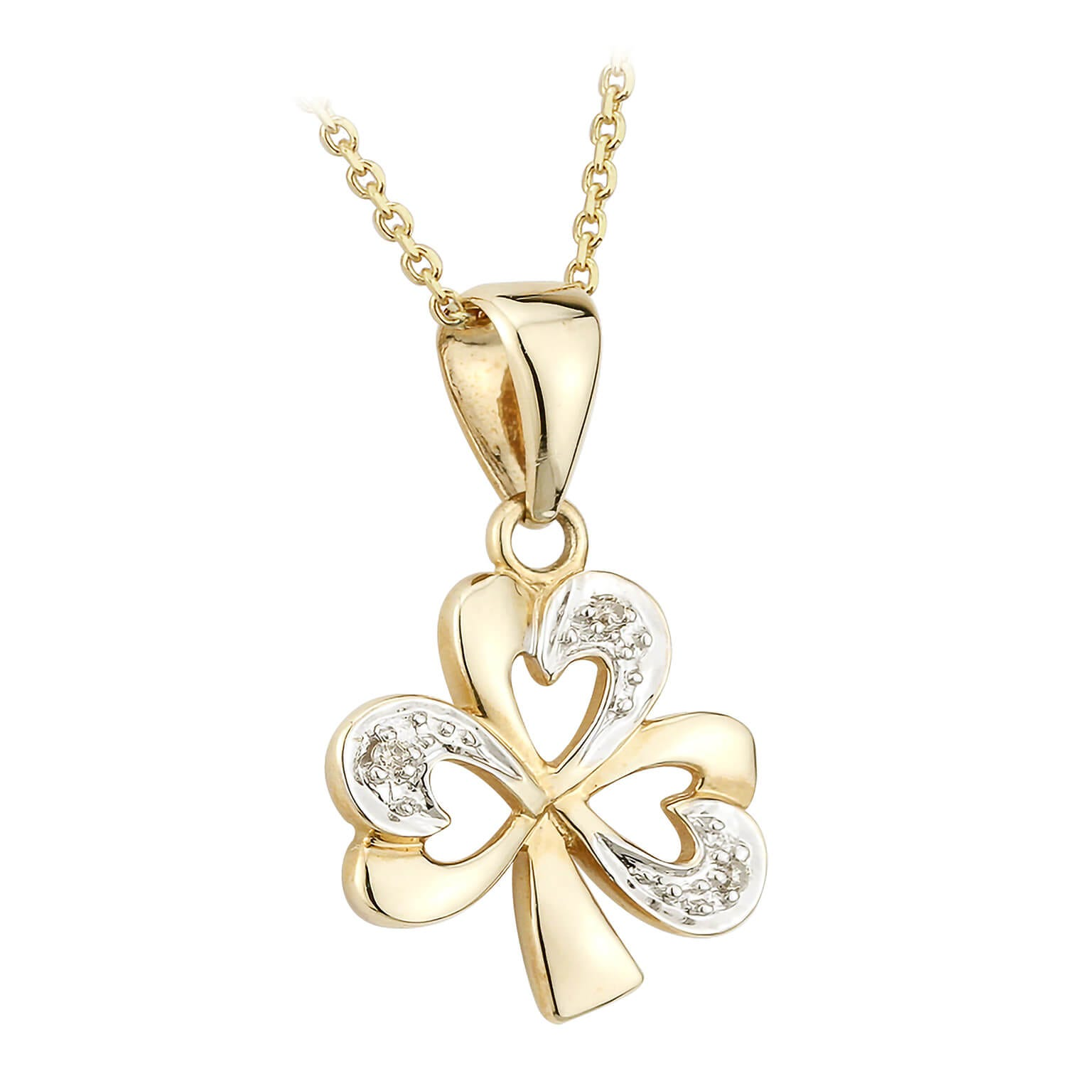 14ct Yellow Gold and Diamond Shamrock Pendant.