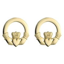 14ct Yellow Gold Small Plain Claddagh Stud Earrings.
