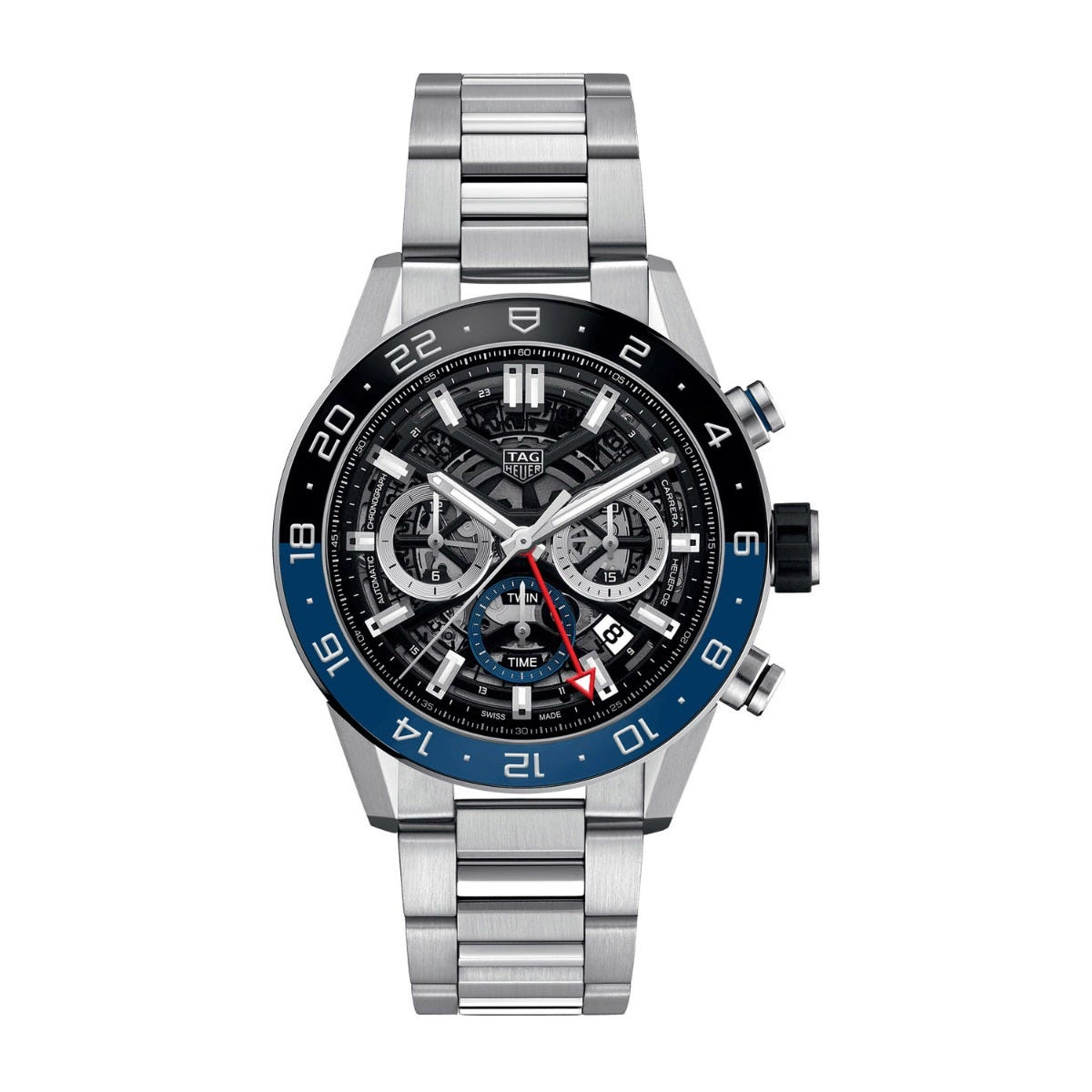 Tag Carrera 02 Skeleton Black Blue Bezel Dial Stainless Steel 45mm Mens watch