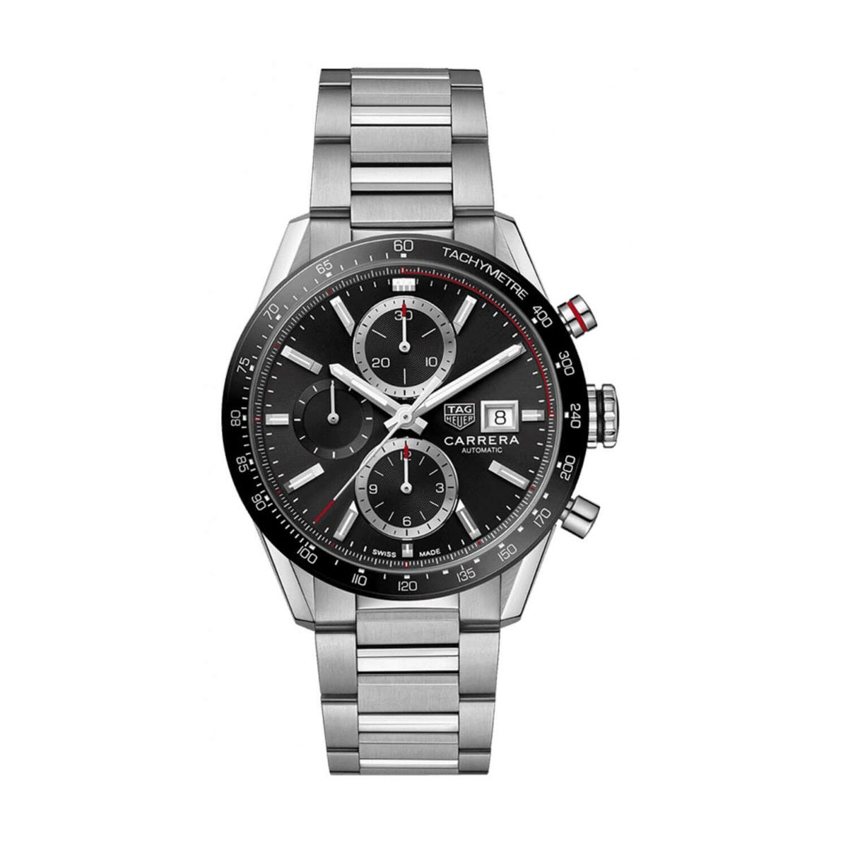 TAG Carrera Black Chronograph Stainless Steel 41mm Mens Watch