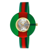 Gucci Vintage Green and Red Mother of Pearl Dial 35mm Ladies Watch