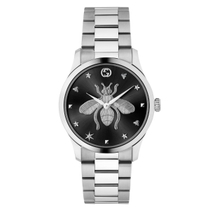 Gucci G-Timeless Black/Silver Bee Dial Stainless Steel Bracelet Ladies Watch
