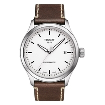 Tissot Chronograph White Swissmatic Dial Brown Strap Mens Watch