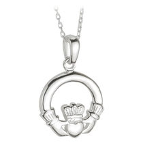 Sterling Silver Small Heavy Claddagh Pendant.