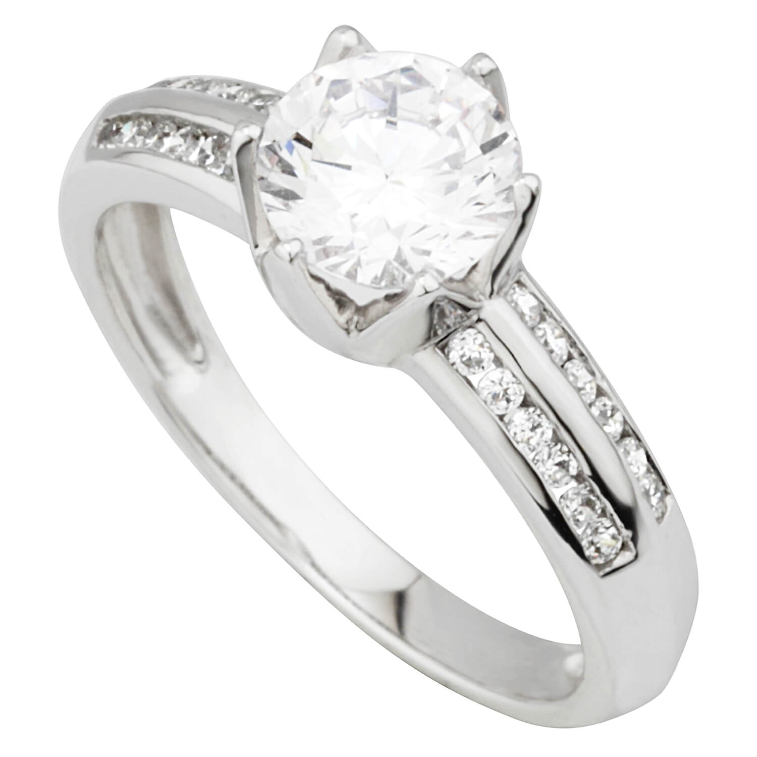 Ladies 9ct White Gold and Cubic Zirconia Dress Ring