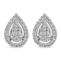 9ct White Gold 0.25 Carat Baguette, Round Brilliant Diamond Pear-shaped Earrings