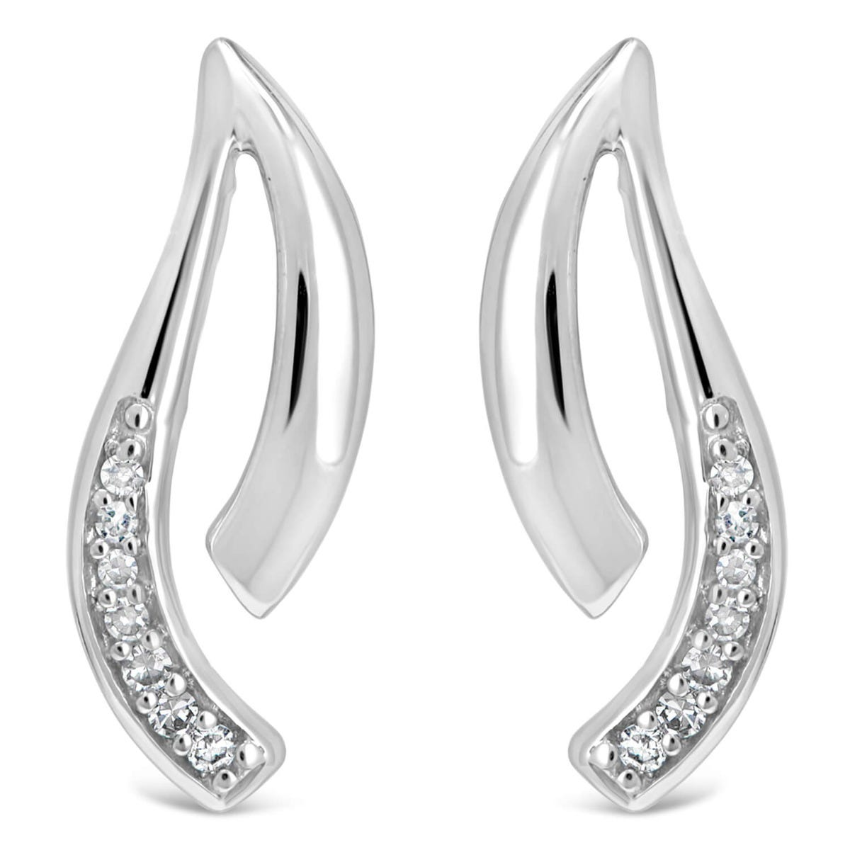 9ct White Gold Polished 0.30ct Diamond Set Two Strand Open Stud Earrings