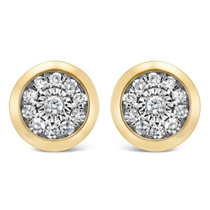9ct Yellow Gold Illusion 0.10ct Diamond Set Rubover Cluster Stud Earrings