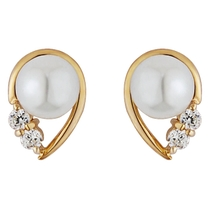 9ct gold freshwater cultured pearl and cubic zirconia stud earrings