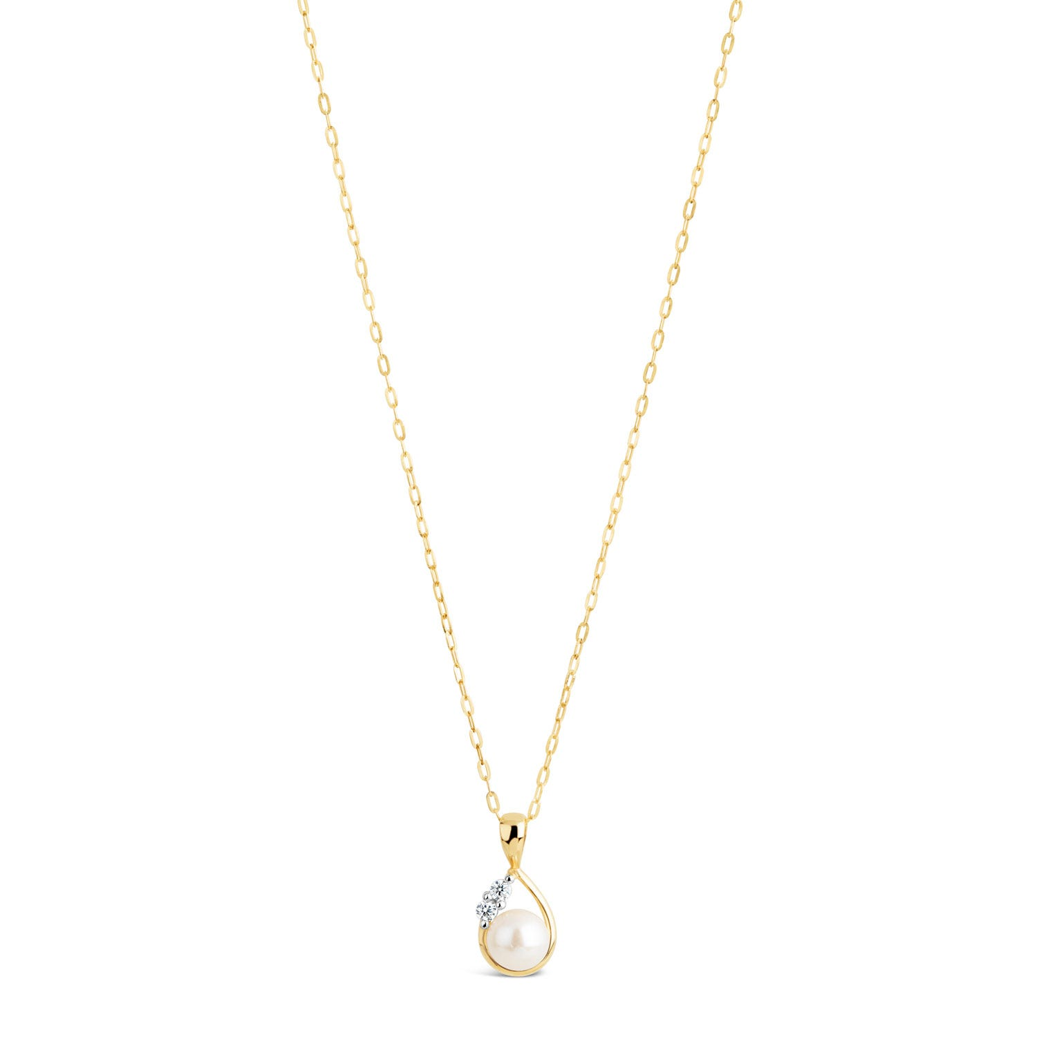 9ct Gold Pearl and Cubic Zirconia Pendant