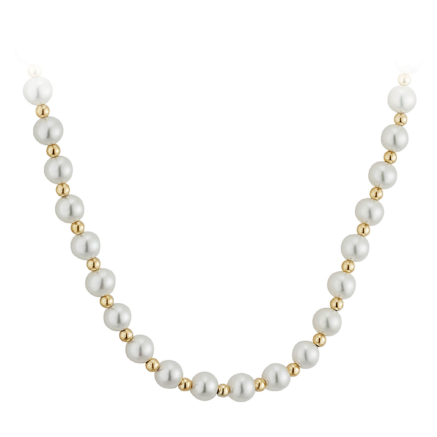 9ct Gold 6mm Cultured Pearl Necklet