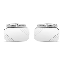 Sterling Silver Rectangle Lined Cufflinks