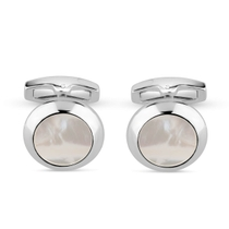 Silver Mens Round Mother Of Pearl Cufflink