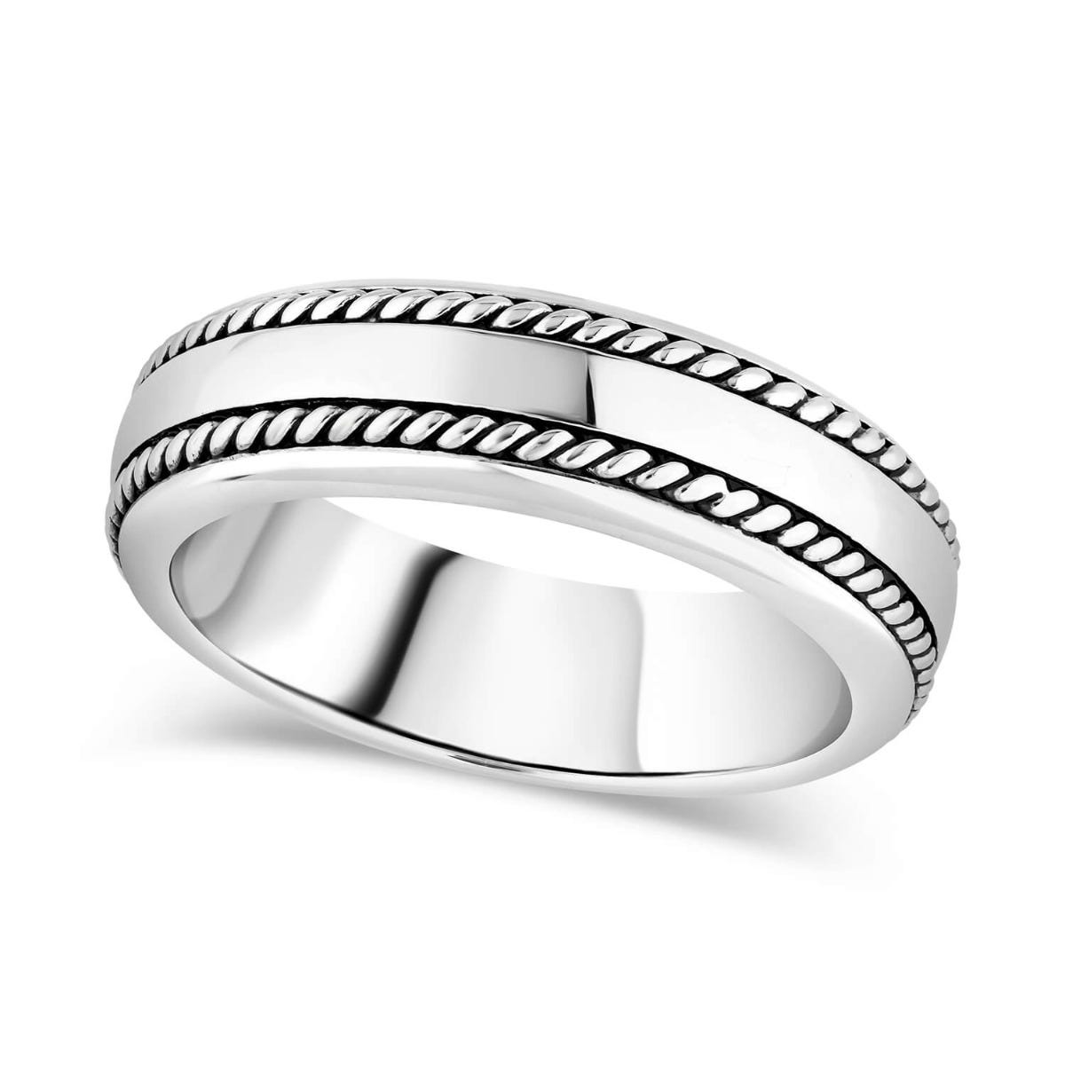 Sterling Silver Rhodium Plated 7mm Double-Twist Men's Ring