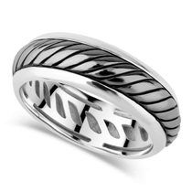 Sterling Silver Rhodium Plated 6.5mm Twist Men's Ring