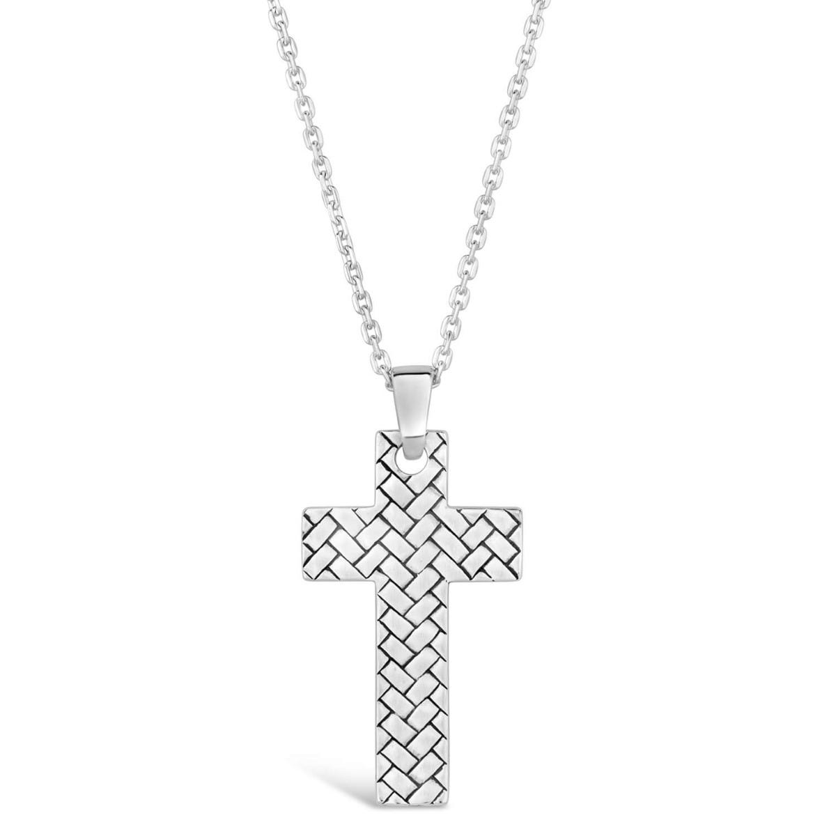 Silver Mens Herringbone Cross Pendant