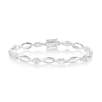 Sterling Silver Pearl and Cubic Zirconia Bracelet