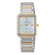 Seiko Solar Rectangle Mother of Pearl Dial Two Tone Bracelet Ladies Watch
