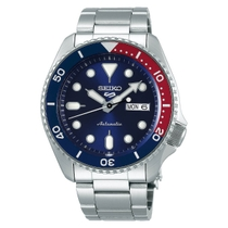 Seiko 5 Automatic Blue Day Date Dial Blue Bezel Stainless Steel Bracelet Watch