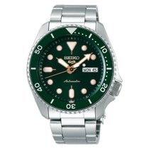 Seiko 5 Automatic Green Day Date Dial Green Bezel Stainless Steel Bracelet Watch