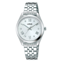Lorus White Dial Crystal Dot Dial Stainless Steel Ladies Watch