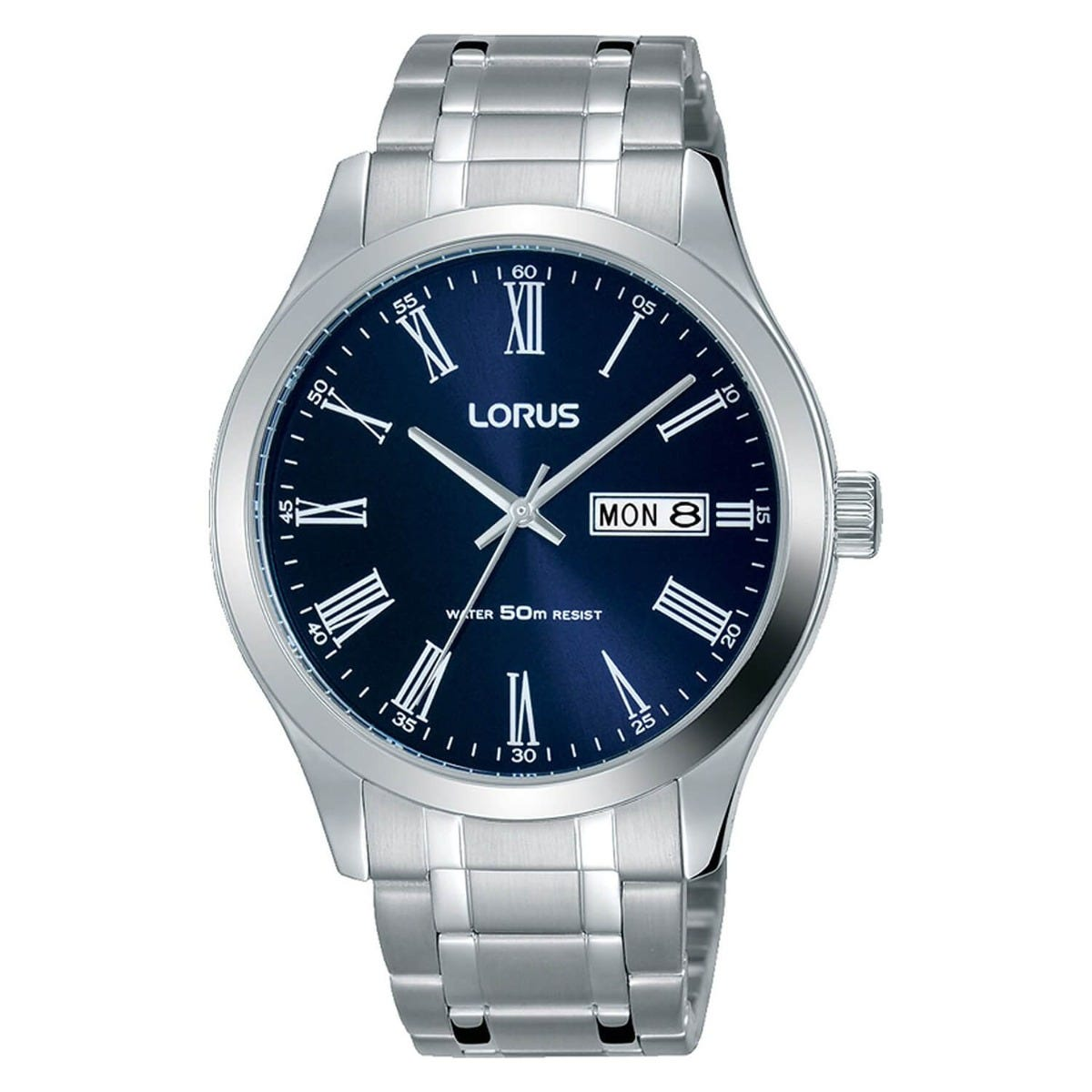 Lorus Blue Roman Numeral Dial Stainless Steel 40mm Mens Watch