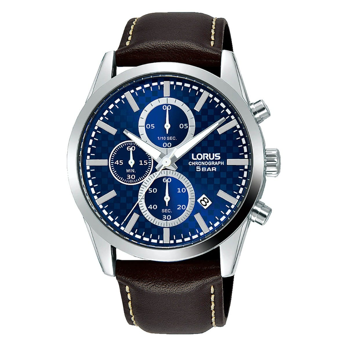 Lorus Blue Chronograph Dial Steel Case Brown Strap 40mm Mens Watch